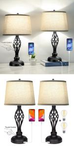 set of 2 3way lamps table lamps for living room table top
