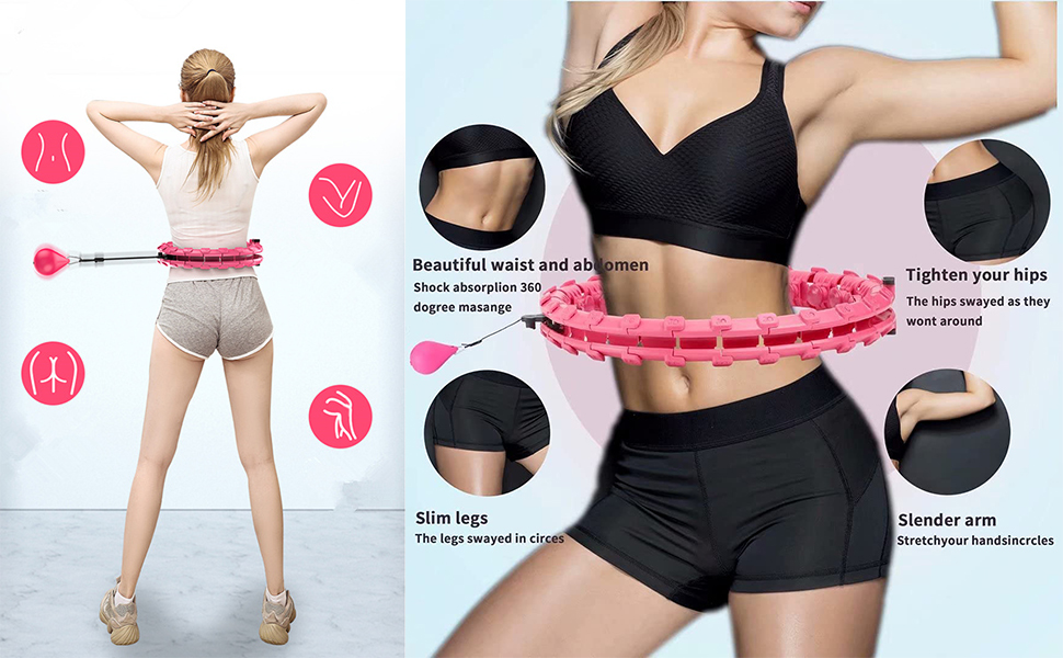 Weighted Smart Hoola Hoop That Will not Fall, Smart 24 Sections Detachable Hoola Hoop,