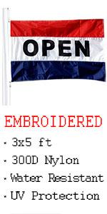 VSVO Open Flag for Businesses 3 x 5ft.- Outdoor Business Flag with Embroidered Letters