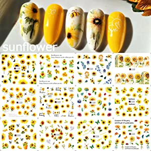 Sunflowers Cherry Blossoms Butterfly Daisy Water Transfer Decal Leaf Nail Design Manicure Decor