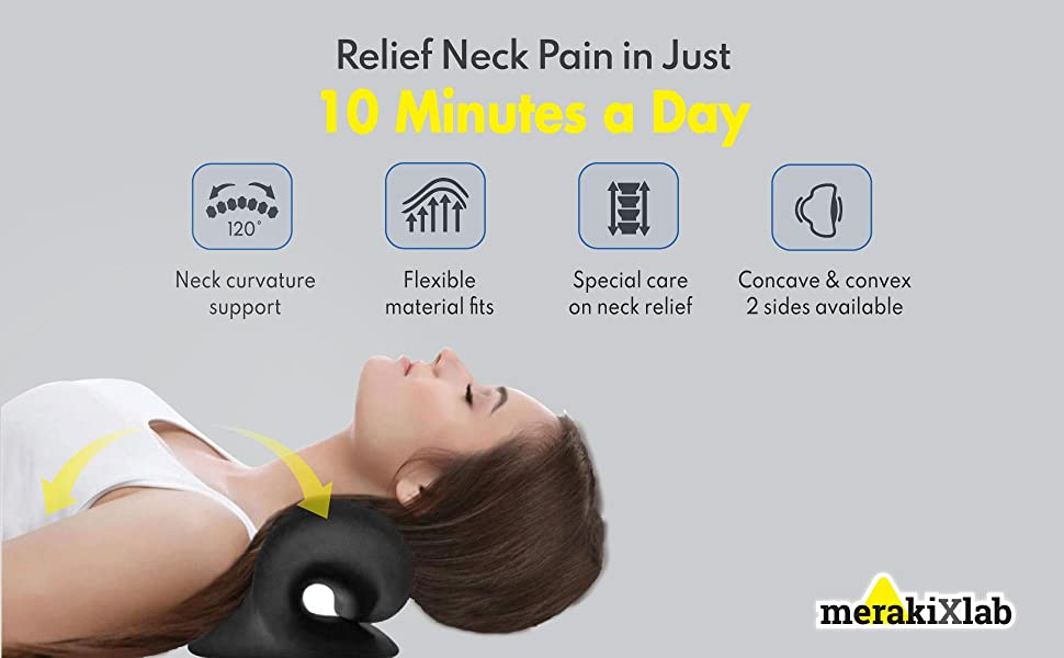 MerakiXlab Neck and Shoulder Relaxer, Cervical Traction Device Chiropractic Pillow Neck Stretcher