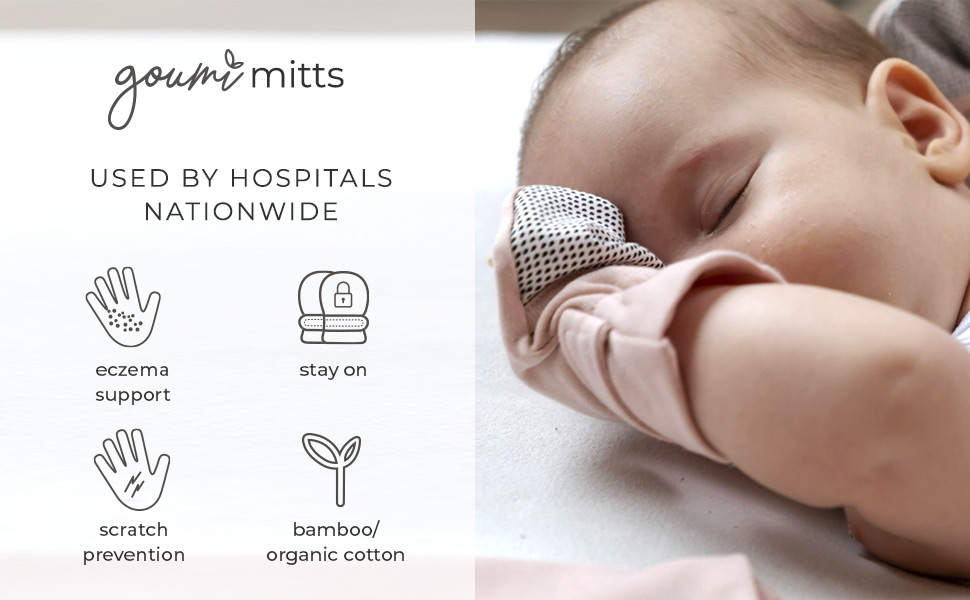 Newborn in soft organic baby mitts that prevent scratching and help to promote healthy skin.