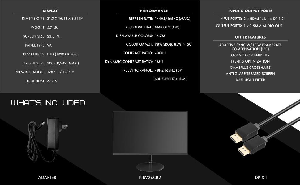 144HZ / 165HZ refresh rate - 8MS response time - 98% sRGB - 2x HDMI - 1x DisplayPort 1.2