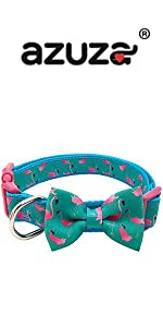 flamingo bowtie dog collar