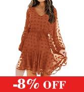 KIRUNDO Women's Dress Long Sleeves V Neck Flowy Mini Dress Casual Loose Swiss Dot High Waist Chif...