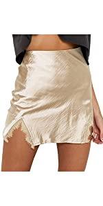 Lace Trim Satin Skirt