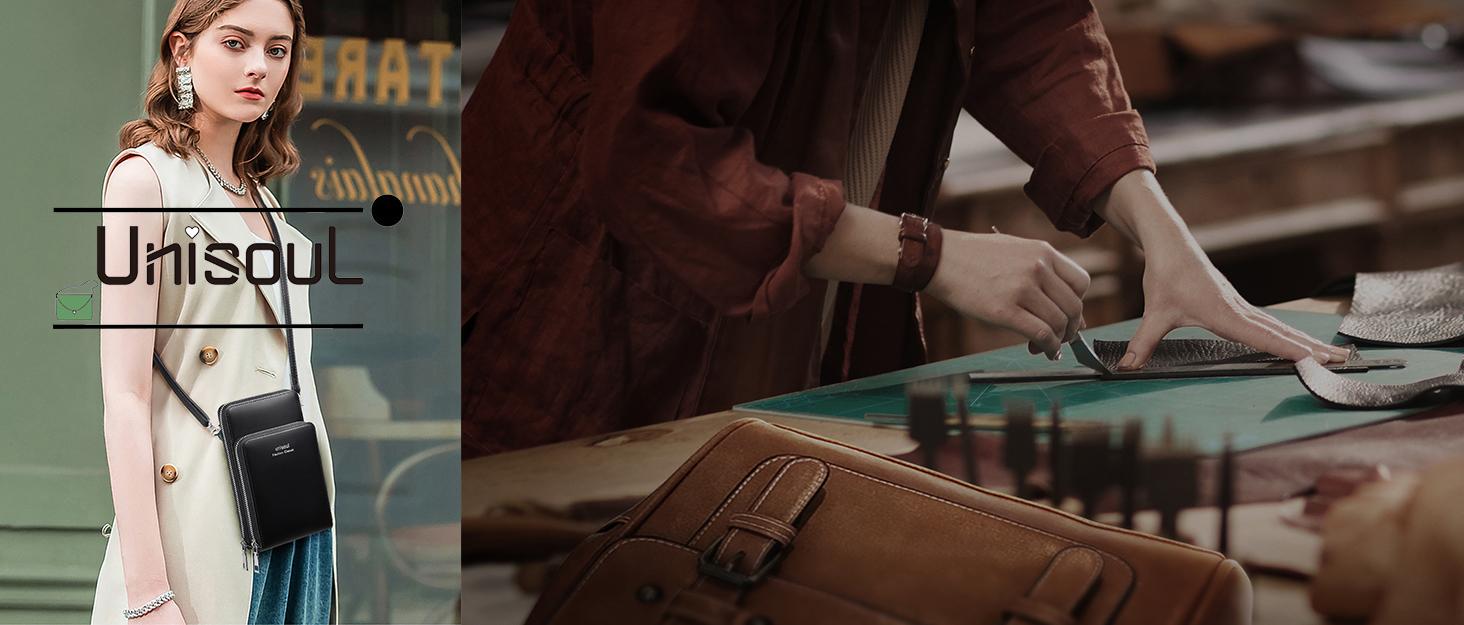Handy Umhängetasche mit Münzen Tasche - Leder Damen Schultertasche Geldbörsen Klein Brieftasche