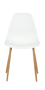 White Plastic Dining Chair Kitchen Table Side Seat Home Restaurent Furniture Pair Wooden