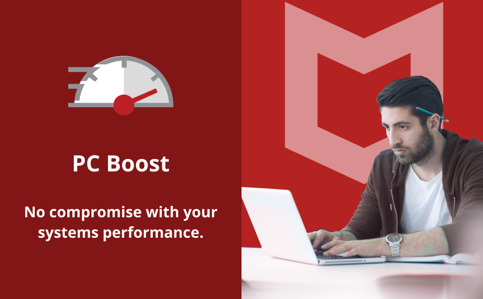 McAfee total protection antivirus software, PC boost feature