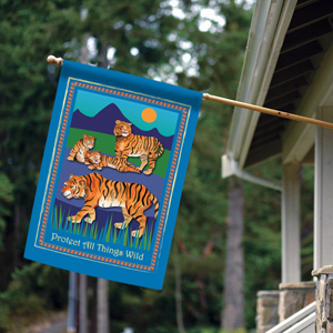 House flag with protect the tiger design