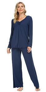 women long sleeve pajamas modal sleepwear set soft warm pjs loungewear jammies sleep shirt