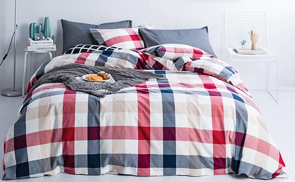 red and blue buffalo plaid duvet cover