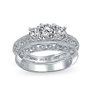 Brilliant Cut Round Solitaire Three Stone Past Present Future CZ Anniversary Engagement Ring Set