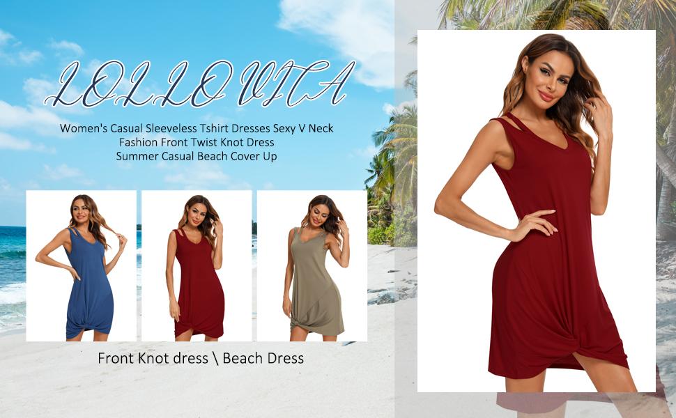 LOLLO VITA Women's Loose Summer Dresses Casual V Neck Sleeveless Mini Dresses