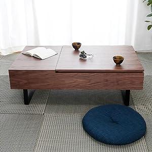 [幅120] センターテーブル ローデスク リフトアップ式 昇降式 突板使用