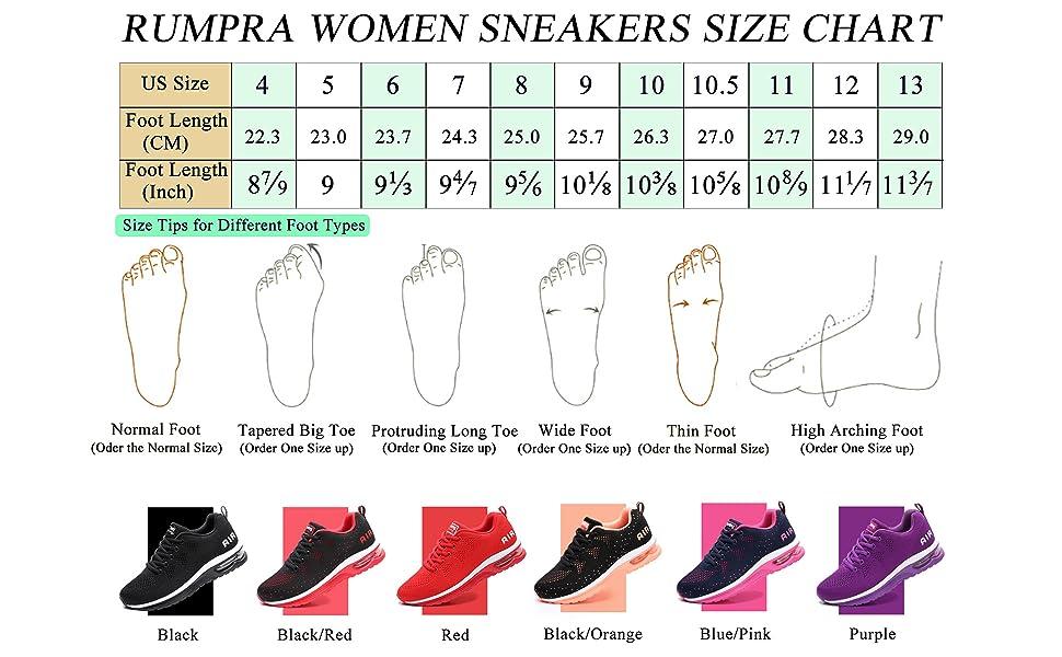 RUMPRA Women Sneakers Size Chart
