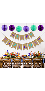 mermaid happy birthday banner with paper honeycombs