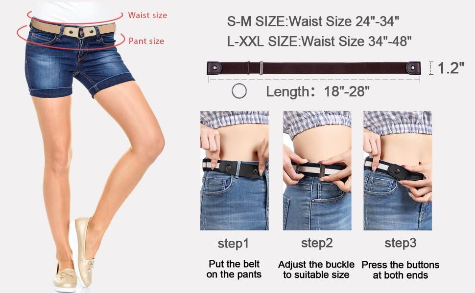 No Buckle Elastic Belts for Women