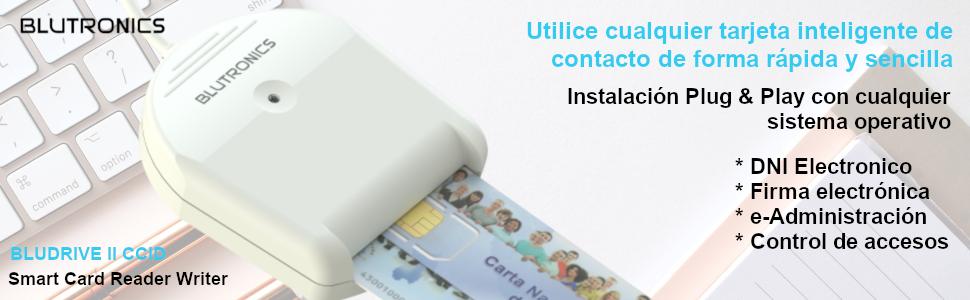 BLUTRONICS Lector de DNI Electrónico Tarjetas Inteligente con Contactos, Smart Card Reader USB BLUDRIVE II CCID DOD y CAC Militar Plug & Play Windows ...