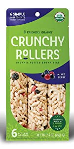 Friendly Grains Crunchy Rollers Mixed Berry. Allergen Friendly puffed brown rice snacks.
