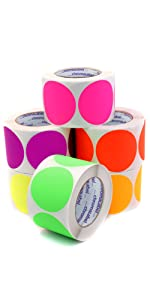 five roll kit of large fluorescent dot stickers