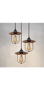 vintage Suspension retro 3 flammes cage Ø350mm Lampe de table à manger rétro en noir