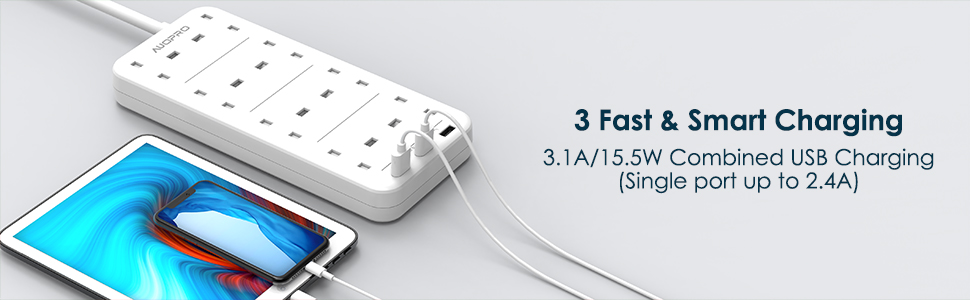 extension lead with usb, 3 usb slots share 3.1 amp