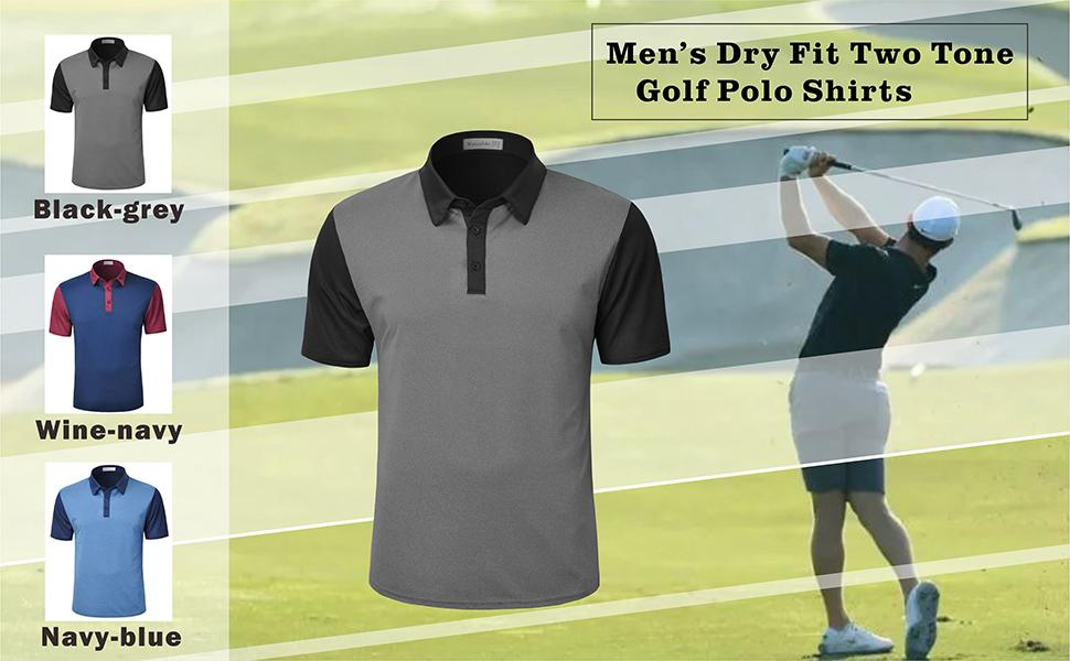 Men's Dry Fit Two Tone Golf Polo Shirts