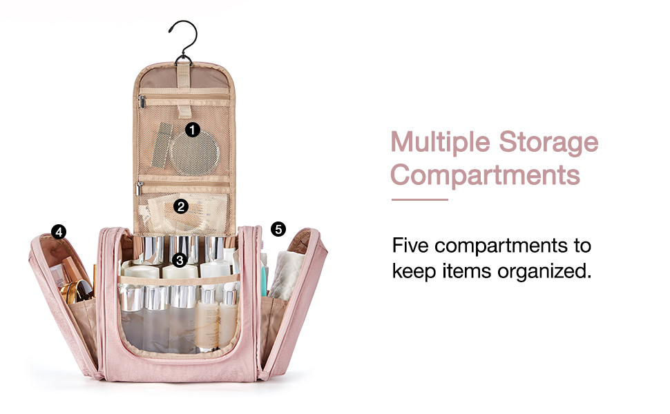 Five compartments to keep items organized.