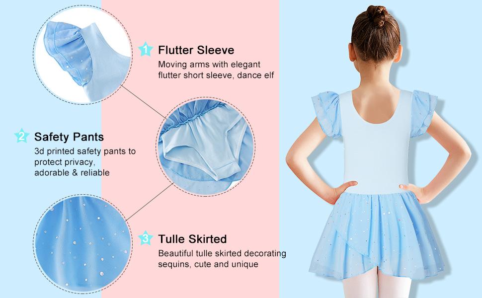Girls Ballet Dance Dress Leotards with Shiny Tutu Skirt Ballerina Outfits 3-11 Years