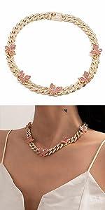 Small Pink Butterfly Cuban Choker Necklace