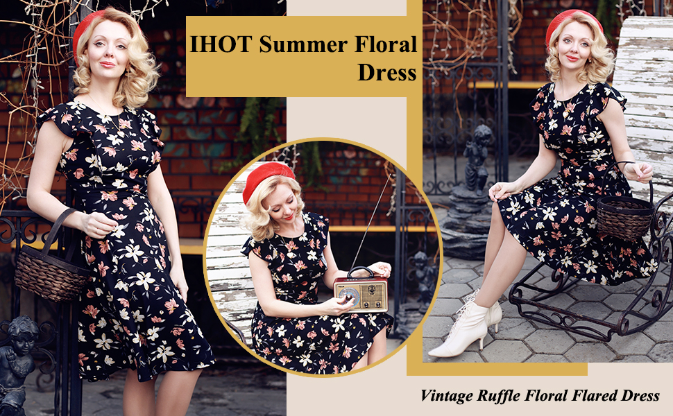 Women's Vintage Ruffle Floral O Neck Flared A Line Swing Wedding Guest Casual Party Dresses