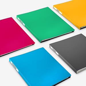 4 colorful presentation books and one basic black
