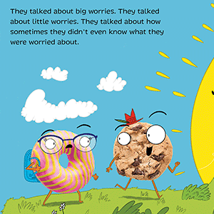 mental health anxiety donut worried kids ages 3-6 back to school SEL humorous book stress