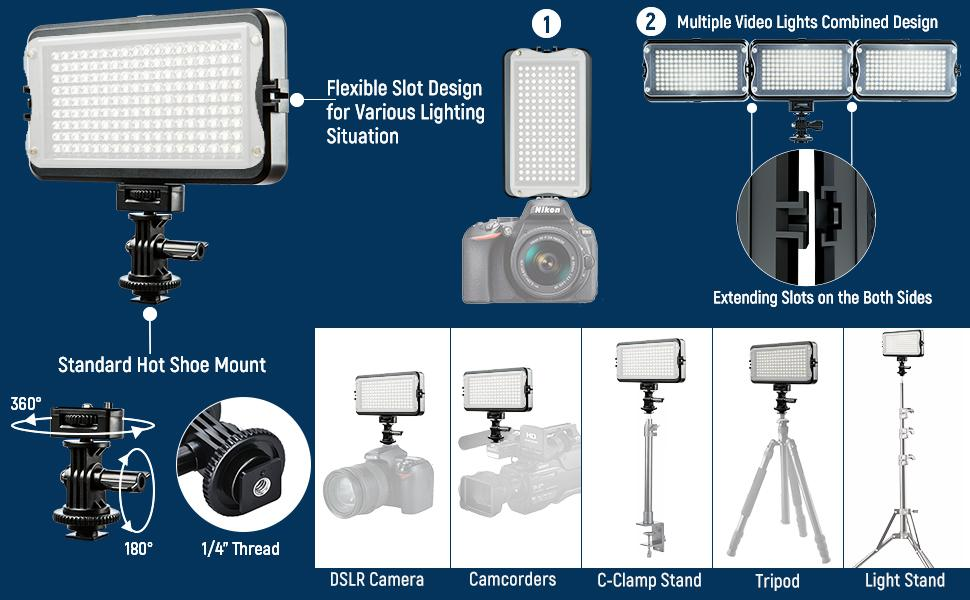 Multiple Video lights can be connected to fill light & Support Different Angles Adjustment