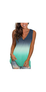 Womens Gradient Loose Fit Tunic Tees