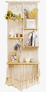 large Macrame wall hanging shelf hanging shelf display shelves