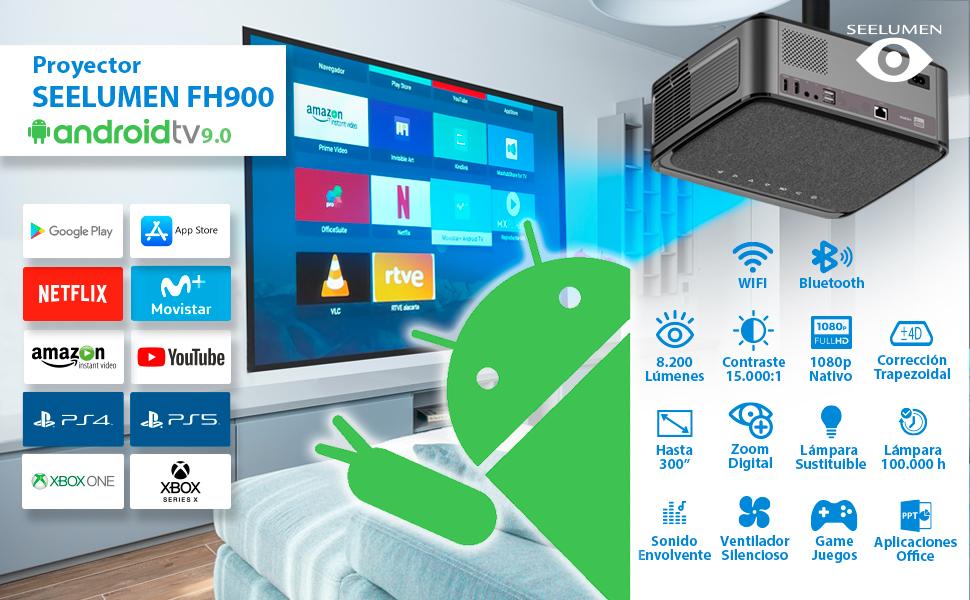 proyector 4k, wimius, yaber, proyector con android, proyector portatil, luximagen uhd400