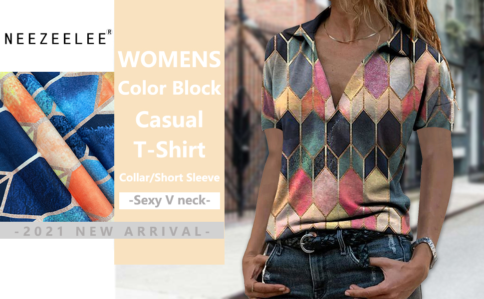 Womens Casual Color Block Blouse