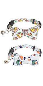 pizza and sushi cat collar with bowtie