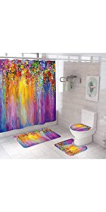 Colorful Ivy florets Shrub Shower Curtain Set