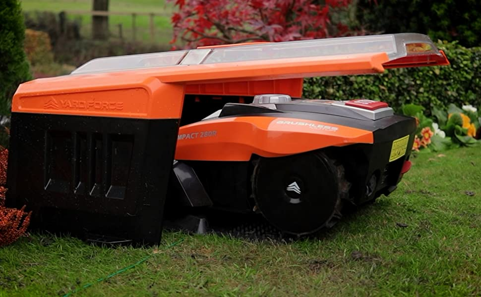 Yard Force Compact Robotic Mower Starting from the Garage