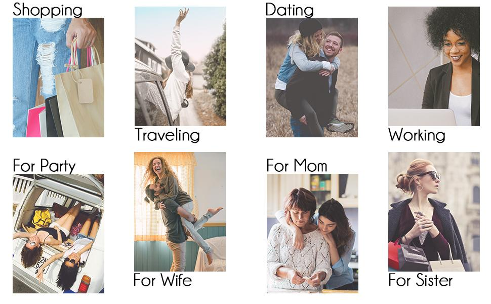 use it for shopping, traveling, dating, working, gift for friends, for wife, for mom and for sister