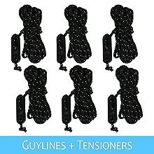 6 guylines and tensioners for rain tarp