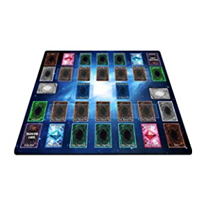 2 Player Duel Link Zones Playmat - Rubber Game Mat 53 cm x 63 cm (Blue Galaxy Style) for Yugioh! TCG