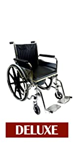 VMS Careline Foldable Commode Wheelchair-DELUXE