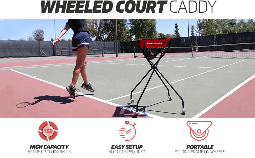 Powernet wheeled tennis ball caddy