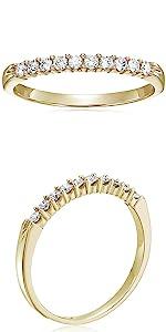 Vir Jewels 1/4 cttw Diamond Wedding Band 14K Yellow Gold 10 Stones Prong Set Round