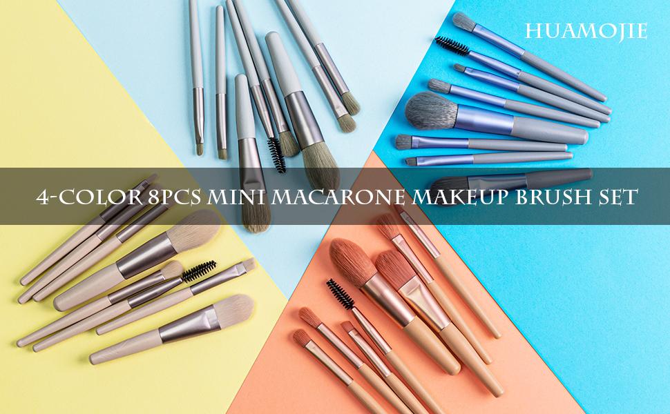 4 color 8PCS Mini macarone makeup brush set