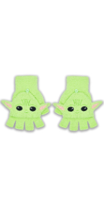 Beanie Gloves Yoda Baby Grogu Mandalorian License fingerless Cosplay Star Wars Disney Green